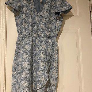 J. Crew Chambray Printed Dress